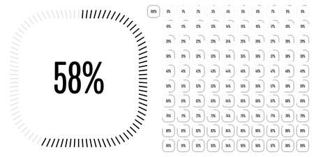 Set of rectangle percentage diagrams from 0 to 100 ready-to-use for web design, user interface (UI) or infographic - indicator with black