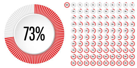 Set of circle percentage diagrams from 0 to 100 ready-to-use for web design, user interface (UI) or infographic - indicator with red Illustration