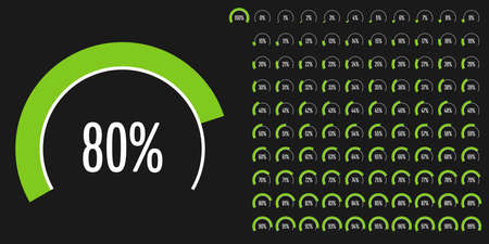 Set of circular sector percentage diagrams (meters) from 0 to 100 ready-to-use for web design, user interface (UI) or infographic - indicator with green