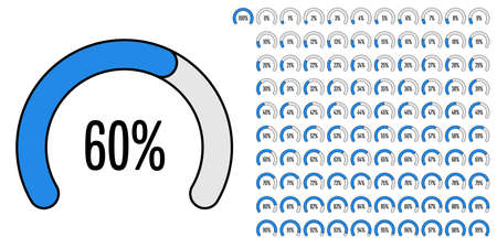Set of circular sector percentage diagrams from 0 to 100 ready-to-use for web design, user interface (UI) or infographic - indicator with blue Ilustração