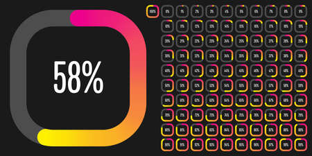 Set of rectangle percentage diagrams from 0 to 100 ready-to-use for web design, user interface (UI) or infographic - indicator with gradient from magenta (hot pink) to yellow Illusztráció