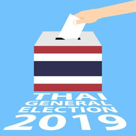 Thai General Election 2019 Vector Illustration Flat Style - Hand Putting Voting Paper in the Ballot Box Illustration
