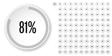 Set of circle percentage diagrams (meters) from 0 to 100 ready-to-use for web design, user interface (UI) or infographic - indicator with gray