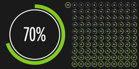 Set of circle percentage diagrams from 0 to 100 ready-to-use for web design, user interface (UI) or infographic - indicator with green 일러스트