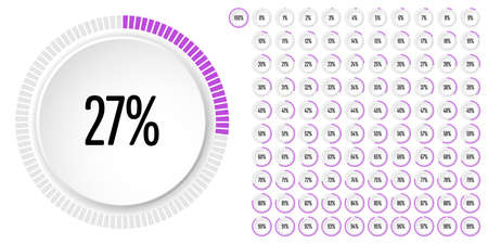 Set of circle percentage diagrams from 0 to 100 ready-to-use for web design, user interface (UI) or infographic - indicator with purple 일러스트
