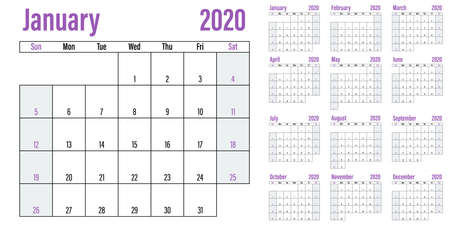 Calendar planner 2020 template vector illustration all 12 months week starts on Sunday and indicate weekends on Saturday and Sunday Ilustração