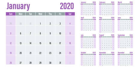 Calendar planner 2020 template vector illustration all 12 months week starts on Sunday and indicate weekends on Saturday and Sunday Çizim