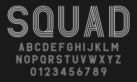 Set of alphabets fonts letters and numbers modern abstract design with lines vector illustration