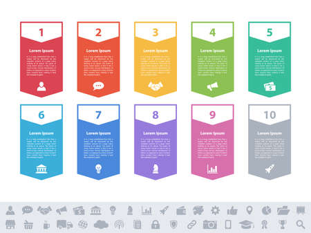 Infographic design business concept vector illustration with 10 steps or options or processes represent work flow or diagram Çizim