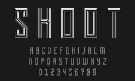 Set of alphabets font letters and numbers modern abstract design with lines vector illustration