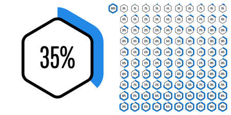 Set of hexagon percentage diagrams from 0 to 100 ready-to-use for web design, user interface (UI) or infographic - indicator with blue