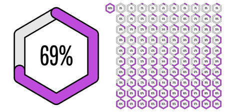 Set of hexagon percentage diagrams (meters) from 0 to 100 ready-to-use for web design, user interface (UI) or infographic - indicator with purple Ilustração