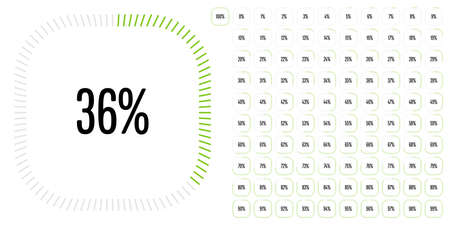 Set of rectangle percentage diagrams from 0 to 100 ready-to-use for web design, user interface (UI) or infographic - indicator with green