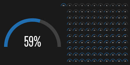 Set of semicircle percentage diagrams from 0 to 100 ready-to-use for web design, user interface (UI) or infographic - indicator with blue