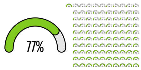 Set of semicircle percentage diagrams (meters) from 0 to 100 ready-to-use for web design, user interface (UI) or infographic - indicator with green