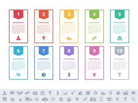 Infographic design business concept vector illustration with 10 steps or options or processes represent work flow or diagram or web button banner Ilustração