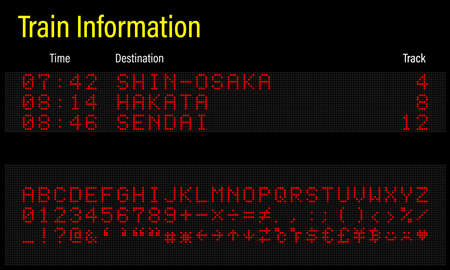 LED electronics digital font, letters, numbers and symbols vector illustration for airport panel, train information and sport scoreboard