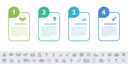 Business infographic design template with 4 steps or options using for process diagram, workflow layout, flow chart, infograph and banner