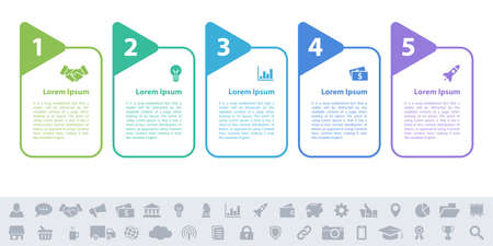 Business infographic design template with 5 steps or options using for process diagram, workflow layout, flow chart, infograph and banner