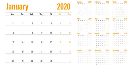 Calendar planner 2020 template vector illustration all 12 months week starts on Monday and indicate weekends on Saturday and Sunday Banco de Imagens - 129948716