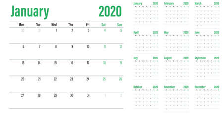 Calendar planner 2020 template vector illustration all 12 months week starts on Monday and indicate weekends on Saturday and Sunday