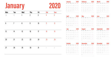 Calendar planner 2020 template vector illustration all 12 months week starts on Monday and indicate weekends on Saturday and Sunday Banco de Imagens - 129948725