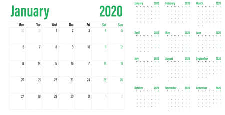 Calendar planner 2020 template vector illustration all 12 months week starts on Monday and indicate weekends on Saturday and Sunday Banco de Imagens - 130771884