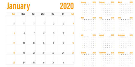 Calendar planner 2020 template vector illustration all 12 months week starts on Sunday and indicate weekends on Saturday and Sunday Banco de Imagens - 130771923