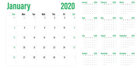 Calendar planner 2020 template vector illustration all 12 months week starts on Sunday and indicate weekends on Saturday and Sunday Banco de Imagens - 130771922