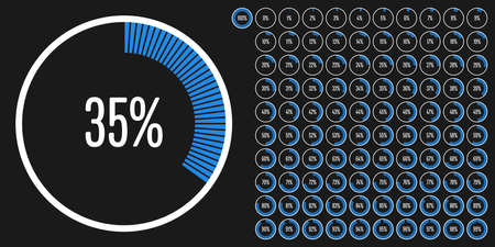 Set of circle percentage diagrams (meters) from 0 to 100 ready-to-use for web design, user interface (UI) or infographic - indicator with blue Stock Illustratie