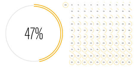 Set of circle percentage diagrams (meters) from 0 to 100 ready-to-use for web design, user interface (UI) or infographic - indicator with yellow