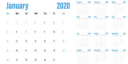 Calendar planner 2020 template vector illustration all 12 months week starts on Sunday and indicate weekends on Saturday and Sunday Banco de Imagens - 131088838