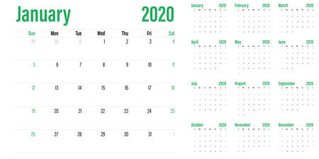 Calendar planner 2020 template vector illustration all 12 months week starts on Sunday and indicate weekends on Saturday and Sunday Banco de Imagens - 131188813