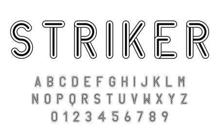 Conjunto de alfabetos fuente letras y números diseño abstracto moderno con líneas ilustración vectorial