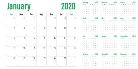 Calendar planner 2020 template vector illustration all 12 months week starts on Sunday and indicate weekends on Saturday and Sunday Stok Fotoğraf - 132146355