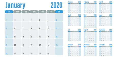 Calendar planner 2020 template vector illustration all 12 months week starts on Sunday and indicate weekends on Saturday and Sunday 일러스트