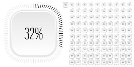 Set of rectangle percentage diagrams meters from 0 to 100 ready-to-use for web design, user interface UI or infographic with 3D concept - indicator with black