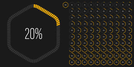 Set of hexagon percentage diagrams meters from 0 to 100 ready-to-use for web design, user interface UI or infographic - indicator with yellow