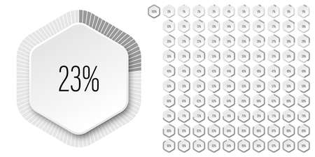 Set of hexagon percentage diagrams meters from 0 to 100 ready-to-use for web design, user interface UI or infographic - indicator with gray Ilustração