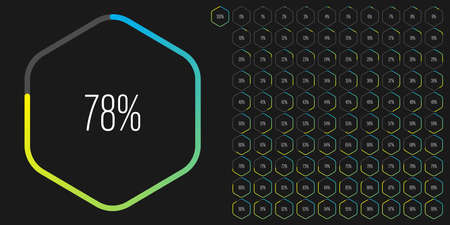 Set of hexagon percentage diagrams meters from 0 to 100 ready-to-use for web design, user interface UI or infographic - indicator with gradient from cyan blue to yellow