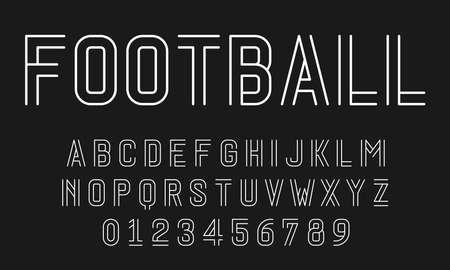 Satz Alphabete Schriftzeichen und Zahlen modernes abstraktes Design mit Linienvektorillustration Vektorgrafik