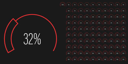 Set of circular sector percentage diagrams meters from 0 to 100 ready-to-use for web design, user interface UI or infographic - indicator with red 向量圖像