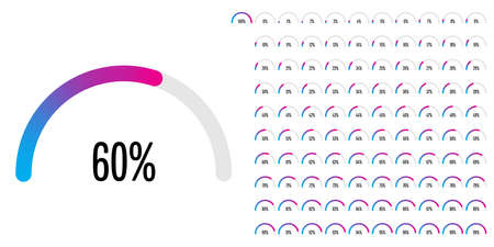 Set of circular sector percentage diagrams (meters) from 0 to 100 ready-to-use for web design, user interface (UI) or infographic - indicator with gradient from cyan (blue) to magenta (hot pink) 向量圖像