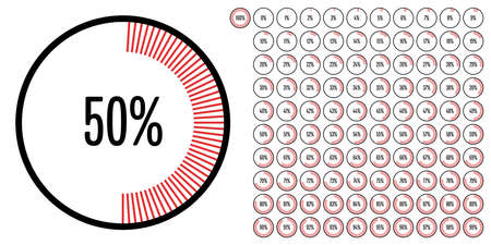 Set of circle percentage diagrams from 0 to 100 ready-to-use for web design, user interface (UI) or infographic - indicator with red 向量圖像