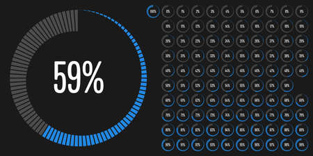 Set of circle percentage diagrams from 0 to 100 ready-to-use for web design, user interface (UI) or infographic - indicator with blue 向量圖像