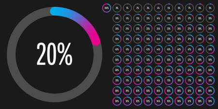 Set of circle percentage diagrams (meters) from 0 to 100 ready-to-use for web design, user interface (UI) or infographic - indicator with gradient from cyan (blue) to magenta (hot pink)