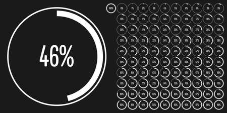 Set of circle percentage diagrams (meters) from 0 to 100 ready-to-use for web design, user interface (UI) or infographic - indicator with white