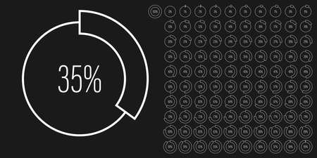 Set of circle percentage diagrams meters from 0 to 100 ready-to-use for web design, user interface UI or infographic - indicator with white