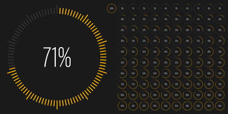 Set of circle percentage diagrams meters from 0 to 100 ready-to-use for web design, user interface UI or infographic - indicator with yellow