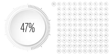 Set of circle percentage diagrams meters from 0 to 100 ready-to-use for web design, user interface UI or infographic 3D concept- indicator with gray 向量圖像
